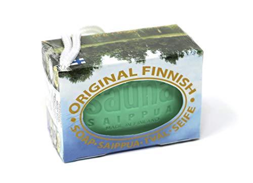 Original Finnische Sauna Seife | Duft Frische Kiefer | traditionelle Rezeptur, handmade in Finland, mit Band zum Aufhängen