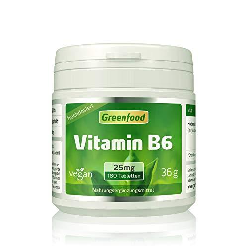 Vitamin B6, 25 mg, extra hochdosiert, 180 Tabletten – für mehr Energie. Wichtig für Blutbildung und Immunsystem. OHNE künstliche Zusätze. Ohne Gentechnik. Vegan.
