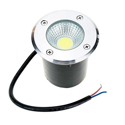 Onerbuy 12V LED COB Luz de carretera subterránea Luces de piso de paisaje de baja tensión Proyector para exterior, jardín, entrada, terraza, patio, IP67 Resistente al agua (Cálido, 5W)