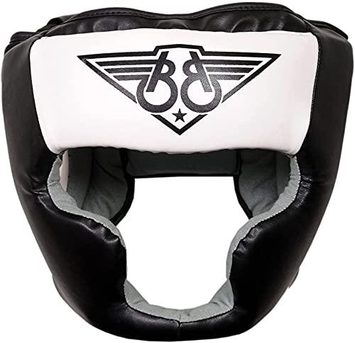 KIKFIT - Protezione per Testa da Boxe MMA, in Pelle Bovina, Protezione Integrale per Casco Integrale per Muay Thai, Arti Marziali, Kickboxing, Taekwondo, Karate, UFC, Unisex - Adulto, Bianco, XL