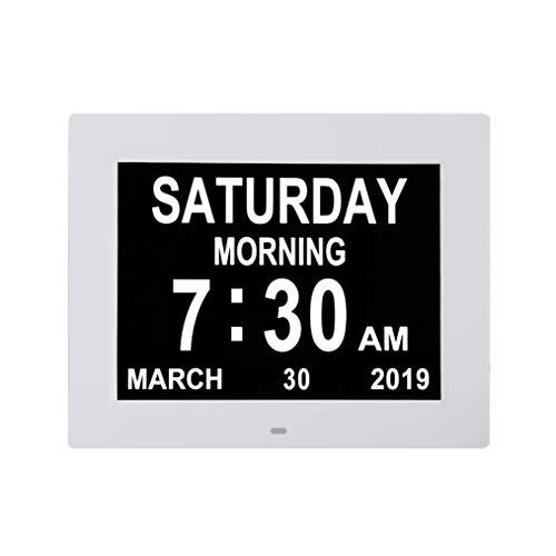 TMC - Reloj de día con calendario digital, extragrande, no abreviado, día y mes, perfecto para personas mayores y demencia de visión deteriorada, 20 cm (blanco)