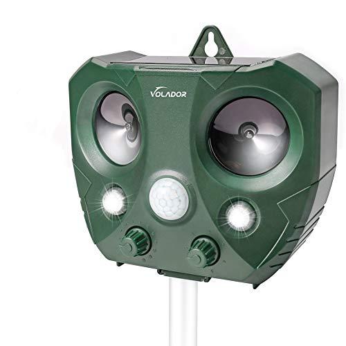 VOLADOR Repelente de Gatos, Ahuyentador Repelente Ultrasónico, Repelente Ultrasónico para Animales Solar Repelente de Animales con Sensor de Movimiento de Sonido Ultrasónico y luz Intermitente