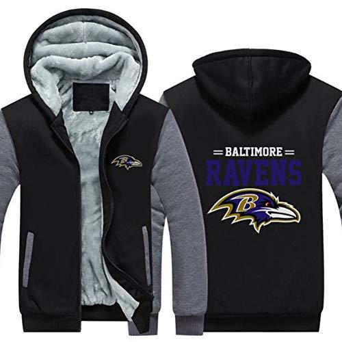 Hoodie NFL American Football Baltimore Ravens Jersey Pullover Plus Velvet Rugby T-Shirt Mit Langen Ärmeln Drucken Hemd Mit Kapuze Beiläufige Bequeme Thick Pullover,A,5XL