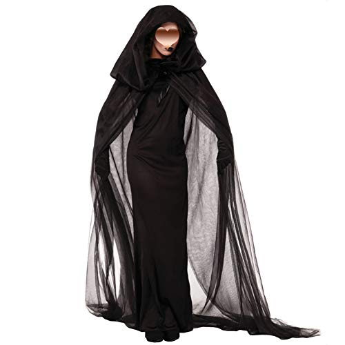 SPLLEADER Bruja Disfraz Vampiresa de Mujer Halloween,Vestido de Calavera Vampiresa para Disfraces Fiesta,Disfraz De Encapuchado Vestido,Calavera Vampiresa para Disfraces Fiesta (Negro,S~XL),L