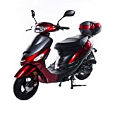 X-PRO 50cc Moped Scooter Gas Moped 50cc Scooter Street Bike (Burgundy)