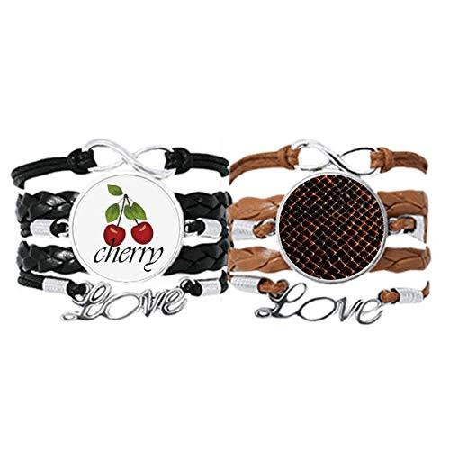 Bestchong Pulsera de piel de serpiente, color negro oscuro, correa de mano, cuerda de cuero, pulsera de amor de cereza, juego doble