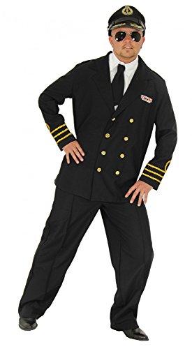 Foxxeo Marine Kostüm für Herren mit Kapitänsmütze und Uniform Marine Offizier Karneval Fasching Party Kapitän Soldat Navy Größe L