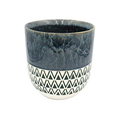 Amazon Brand – Stone & Beam Mid-Century Patterned Planter, 8.46'H, Indigo Blue