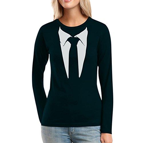 Gedruckter Anzug/Legendäre Stinson Krawatte Barney - Tuxedo Kostüm Party Damen Langarm-Schwarz Small T-Shirt