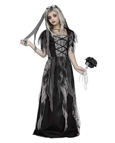 Horror-Shop Friedhofs Gothic Brautkleid Halloween Kinderkostüm mit Schleier L