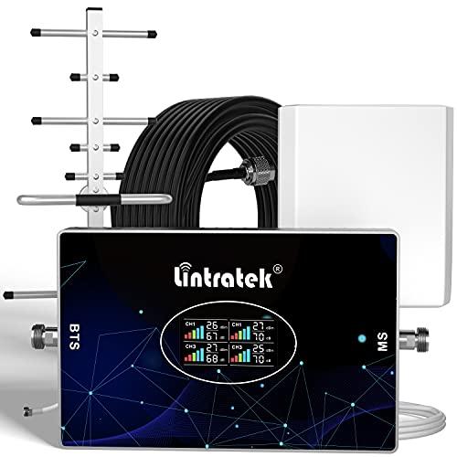 Lintratek Amplificador de señal para teléfono móvil 4 Cuatro Banda B20 800, 900, 1800, 2100 Repetidor gsm 2G 3G 4G 70dB Repetidores de señal de móviles Compatible con Movistar/Orange/Yoigo/Vod
