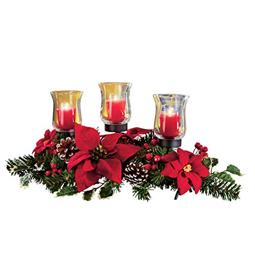 Collections Etc Christmas Poinsettia Candle Holder Centerpiece with Pinecones, Red 20' L x 9' W x 9 1/4' H
