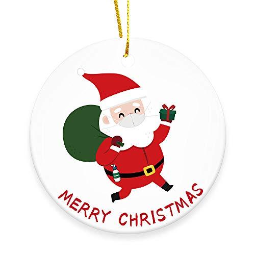 DIANAR Weihnachten Deko 2020 Weihnachtsbaum Christbaum Runde Keramik Anhänger Weihnachtsschmuck Geschenke WeihnachtsanhäNger für Männer Frauen, Home DIY Personalisierte Feiertagsdekorationen