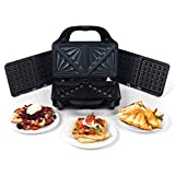 Beldray Grill pour en-Cas 2-en-1 EK2143TWOBGP-VDE avec plaques pour sandwichs et gaufres, Prise européenne