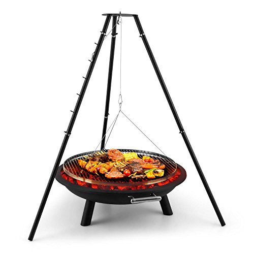 blumfeldt Arco Trino Swivel Grill Fire Pit - BBQ, Tripod, Stainless Steel, 70 cm Grill Surface, Fire Pad with 1.5 mm Sheet Steel, Wire Rope Suspension Grate with 5 Locking Hooks, Black