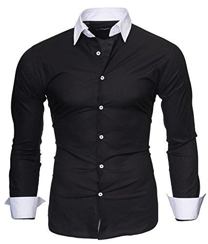Kayhan Herren Hemd Mailand, Schwarz (XL)