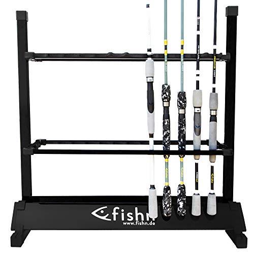 FISHN Soporte de caña para 24 cañas de Pescar Fabricadas en Aluminio, portacañas, portacañas de Pesca - 72 x 70 x 30 cm (Negro)