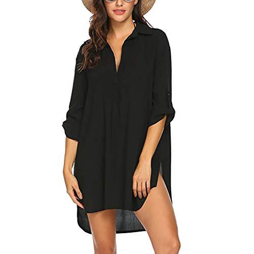 Vestido de verano para mujer, para playa, bikini, con mangas de 3/4, cuello en V, túnica, blusa, vestido de playa, poncho de playa, tallas S-3XL Negro XL