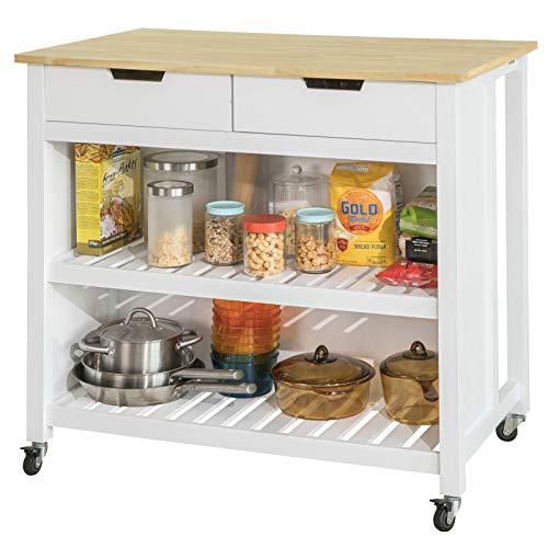 SoBuy FKW74-WN,Carrito de Cocina con 2 cajones y 2 estantes,con Tablero Grande,L100 x P60 x H94cm,ES (Blanco)