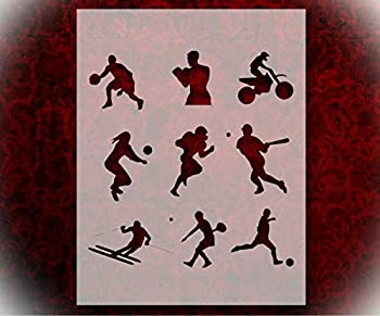 Rubstamper Stencil Sports Players Basketball Football Baseball 8.5  x 11  Reusable Sturdy Flexible Clear Plastic Stencils Arts and Crafts Material Scrapbooking for Airbrush Painting Drawing