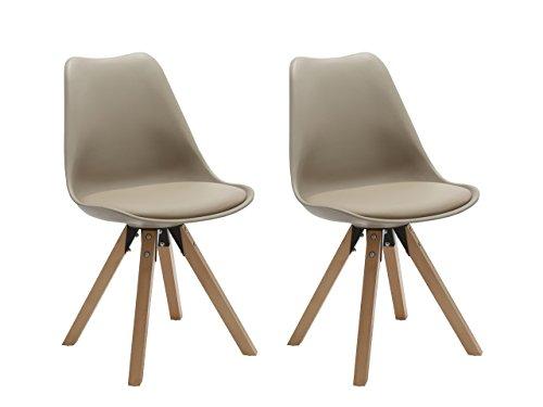 Duhome Elegant Lifestyle® Stühle 2er Set in Cappuccino, Esszimmer Stuhl Küchenstuhl mit Holzbeine, stabil und schick (448)