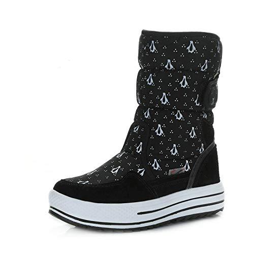 Shukun enkellaarzen vrouwelijke sneeuwlaarzen vrouwelijke vlakke onderkant dikke slang leggings katoen laarzen