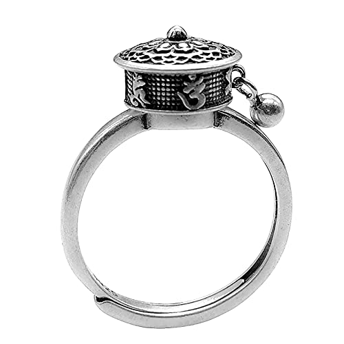 minjiSF Anillo abierto giratorio para hombre y mujer, anillo de verdad con seis caracteres, creativo, étnico, girar, seis caracteres, verdad ajustable, mini anillos