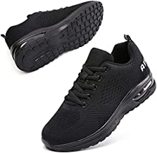 Running Shoes for Women Tennis Sneakers Air Cushion Arch Support Slip Resistance Memory Foam Mesh Comfortable Shoes for Walking Gym Athletic Work All Black US 10