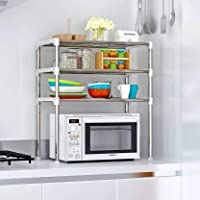 Product Dimensions: Length (57 cm), Width (30 cm), Height (65 cm) Primary Material: Chrome and Plastic Color: Silver, Style: Modern Assembly Required: The product requires basic assembly Multipurpose kitchen rack- Microwave rack, oven rack, dish rack