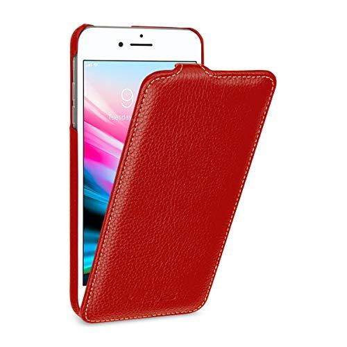 keledes iPhone 8 plus/iPhone 7 Plus hoesje, Dun Licht Echt Leren hoesje Hoes met Clip Sluiting Verticale Flip Cover Telefoonhoesje voor iPhone 8 plus/iPhone 7 Plus, Wijn Rood
