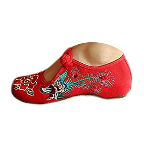 Kangzy Chaussures Florales Chinoises Brodées Vintage Femme FENGHUANGXIMUDAN Ballerines Mary Jane Ballerine Flat Ballet Cotton Loafer Rouge 38