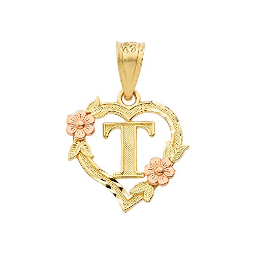 10k Beautiful Two-Tone Initial Heart Pendant for Women in Yellow and Rose Gold Letter C