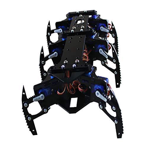 Milageto Kits de Aprendizaje de Robot de Araña Negra de 6 Pies Disco de Timón de Bricolaje de Robot Programable