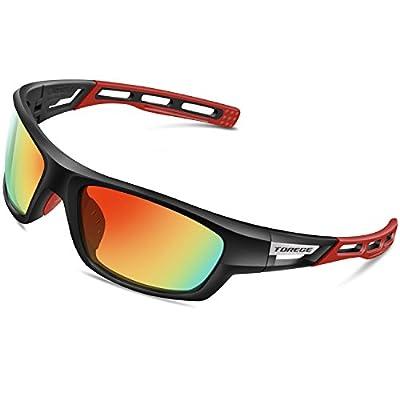 PONOSOON Polarized Sports Sunglasses for Men Women for Cycling Running Fishing Golf TR90 Frame 007 (Black Frame Red Tips&Red Lens)