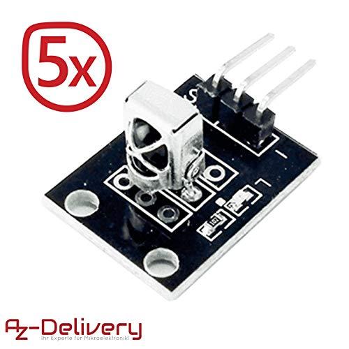 AZDelivery 5 x KY-022 Set IR Empfänger Infrarot Receiver CHQ1838 Sensor Modul für Arduino inklusive eBook!