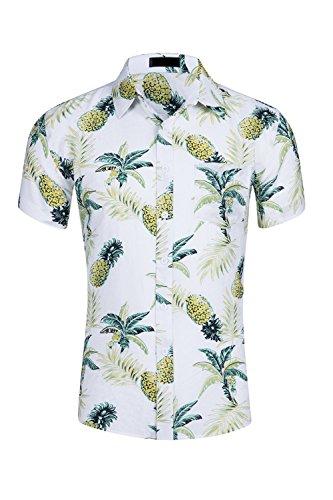Yacun Hombres Camisas Hawaianas Floral Casual Tops Manga Corta De La Playa