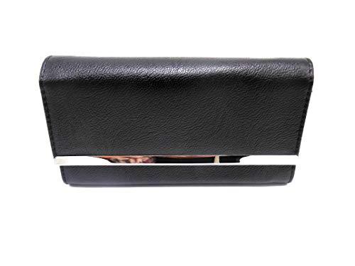 Women's Faux Leather Mundi Fat Wallet Ladies File Master Organizer One Size i659x (Black)