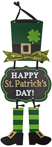 "Amscan Party Decoration St. Patrick's Day Glittery Leprechaun Triple Sign, 1 Ct.   19"" x 8 1/2"", Multicolor,241664"