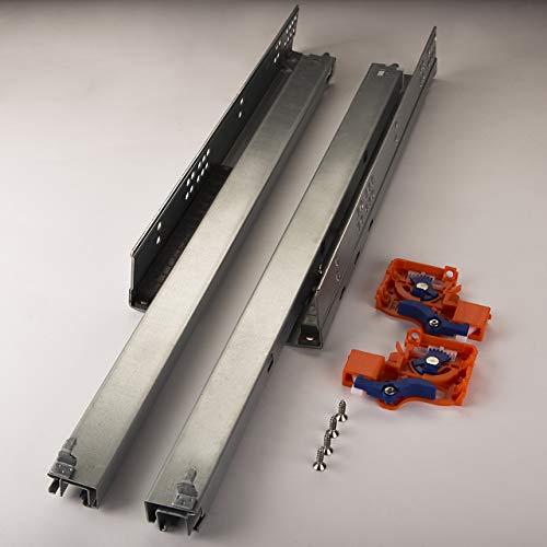 SOTECH 1 Paar FullSlide Schubladenauszüge UV2-25-K1D-L550-PP Länge 550 mm für Holzschublade Unterflurführung mit Push-to-Open Drucköffner