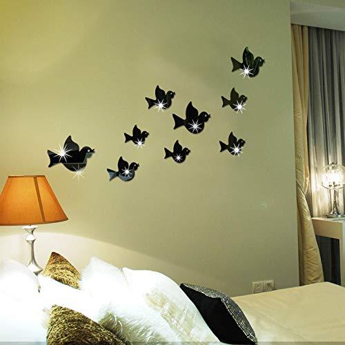 Acrílico 3d Espejo Pegatinas De Pared Flying Birds Dormitorio Sala De Estar Decoración De La Pared negro