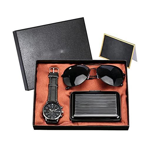 MGPLBYA Conjunto de Regalo Bellamente Hombre Reloj Conjunto Cuarzo Reloj de Pulsera Caja de Tarjeta de crédito Gafas de Sol Presente Set Cumpleaños Acción de Gracias (Color: Azul)