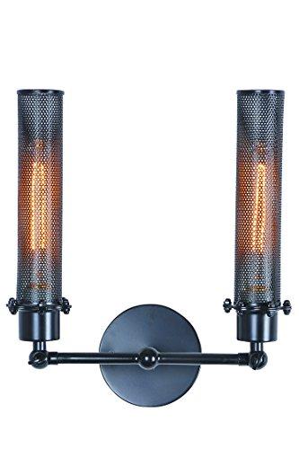 Elegant Lighting Nelson Collection 2-Light Wall Lamp, Black Finish