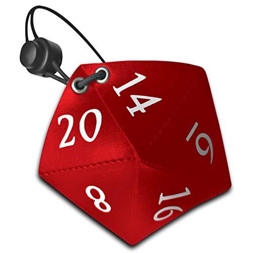 Doctor Frikistein D20 Bag | Bolsa con Forma de Dado Dados de rol | de Polipiel con Cuerda y Cierre (Rojo)