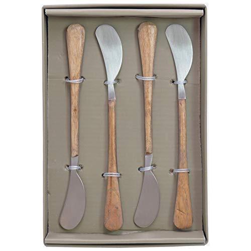 Q and Q - Juego de 4 cuchillos de mantequilla (madera, 1,5 x 5,5 cm)