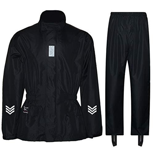 FWG Rain Suit for Men Women Motorcycles Cycling Waterproof Rain Jacket with Pants Reflective tape (Large, Black)