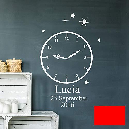 Wandtattoo Geburt Geburtszeit Uhr Wunschdaten Geburtsdaten Name Sterne M2460 - ausgewählte Farbe: *hellrot* ausgewählte Größe: *XS - 30cm hoch x 18cm breit*
