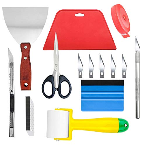 Ewrap Kit completo para colgar papel pintado con rodillo de costura, raspador de acero, raspador, herramienta de recorte de papel pintado