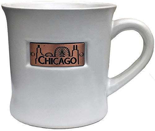 Chicago City Skyline Souvenir White Brass Plaque Durable Long lasting Ceramic Coffee Mug