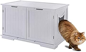 Sweet Barks X-Large Designer Cat Washroom Storage Bench Cat Litter Box Enclosure Furniture Box House with Table (White)