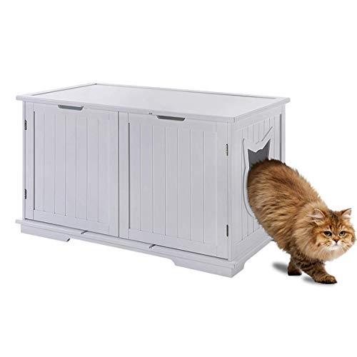 Sweet Barks X-Large Designer Cat Washroom Storage Bench Cat Litter Box Enclosure Furniture Box House with Table (White)
